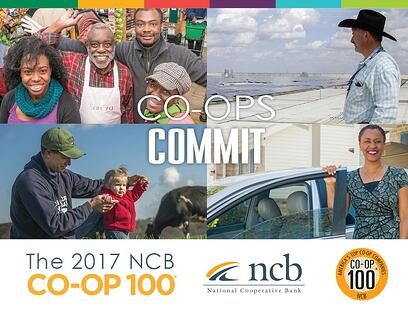 Photo of the front cover of NCB's 2017 Co-op 100 report