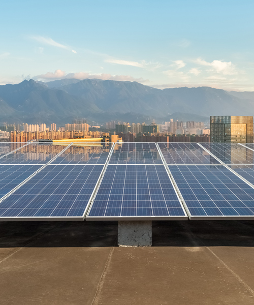 solar energy panels on a rooftop